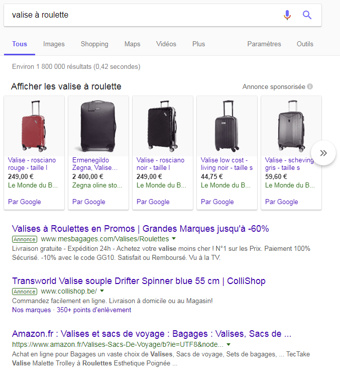 resultats google ads valise a roulettes